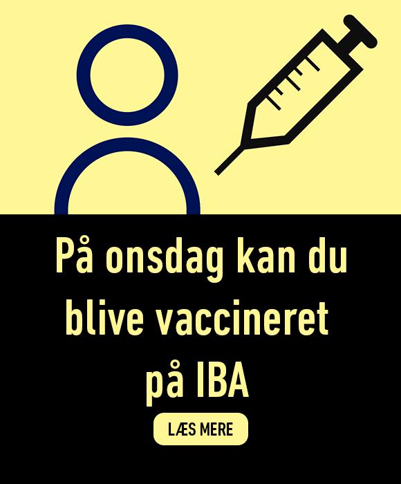 På onsdag kan du blive vaccineret på IBA. Læse mere