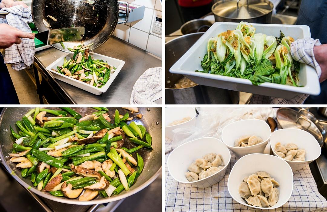 De saftige pastaer med forskelligt kødfyld blev serveret i skåle rundt på bordene