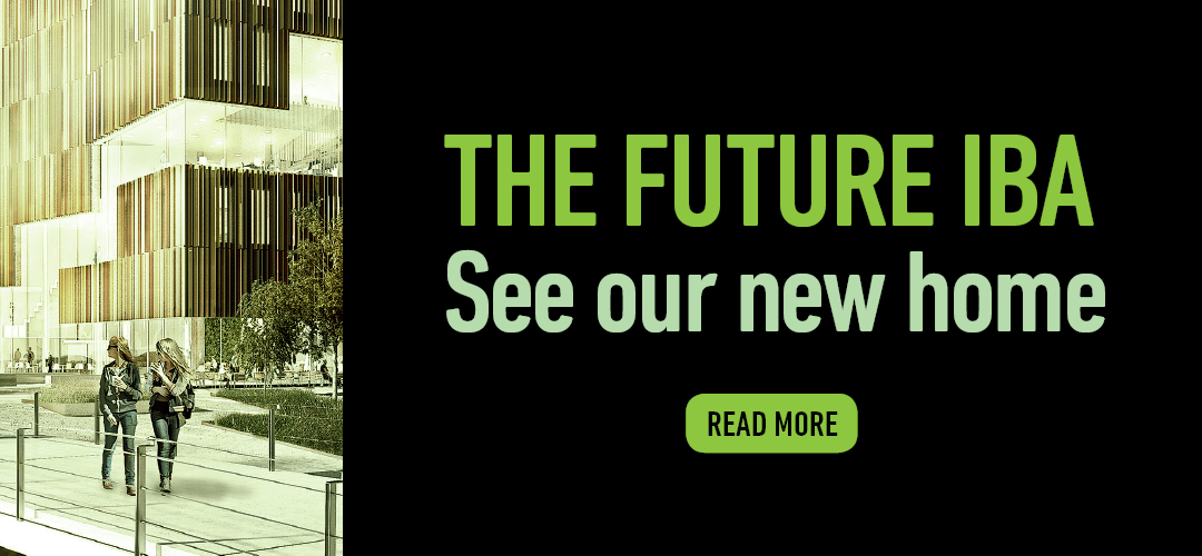 Picture with the text: The future IBA. Click to see our new home