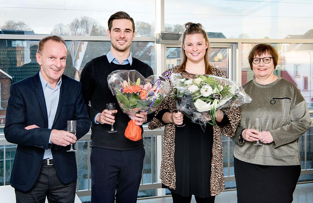 Nicolai Toftegaard og Maria Winther Eriksen med rektor Niels Egelund og uddannelseschef Helle Melgaard