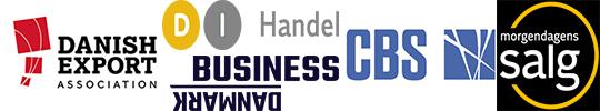 LOGOER: Danish Export association, D I Handel. Business Danmark, CBS, Morgendagens salg