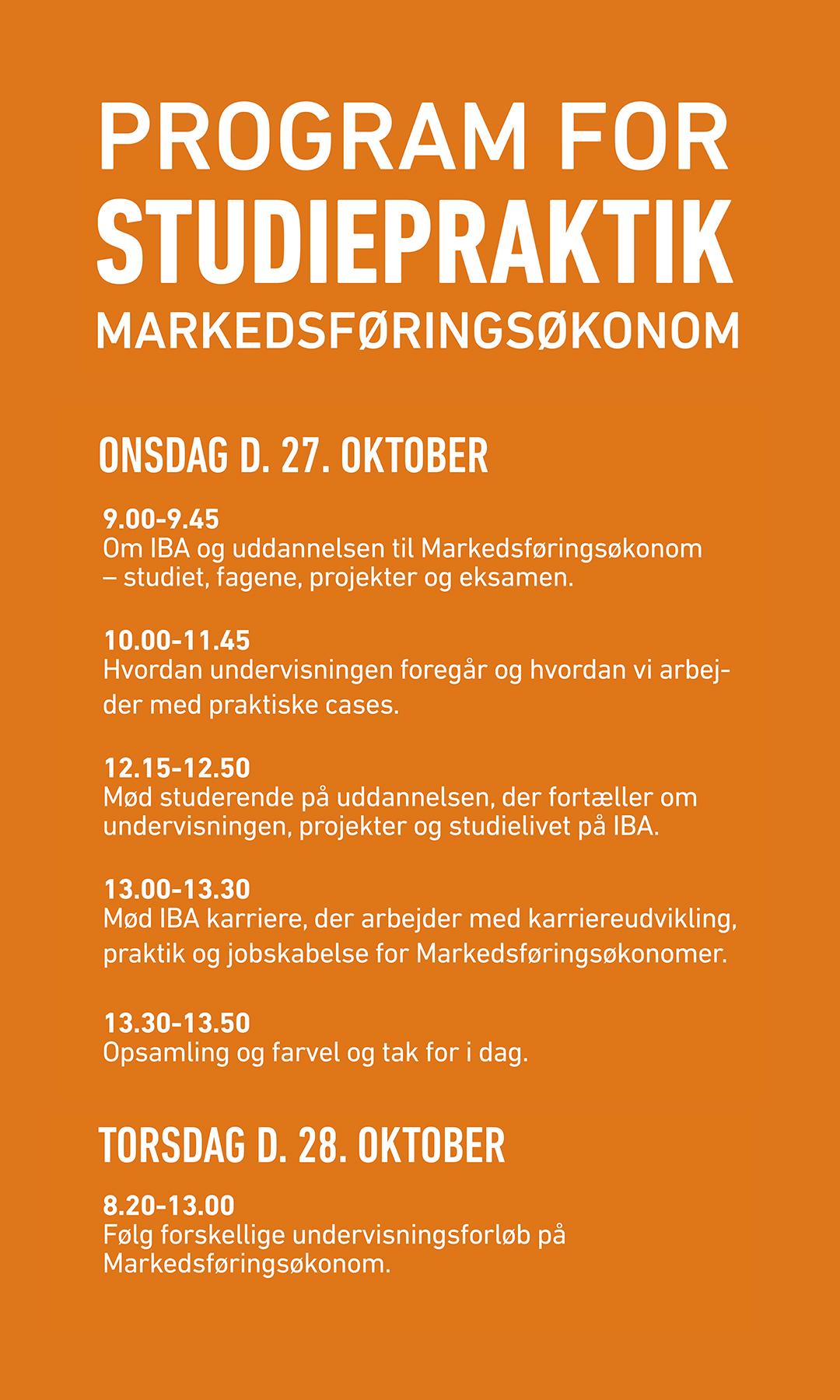 Program for studiepraktik for uddannelsen Markedsføringsøkonom.