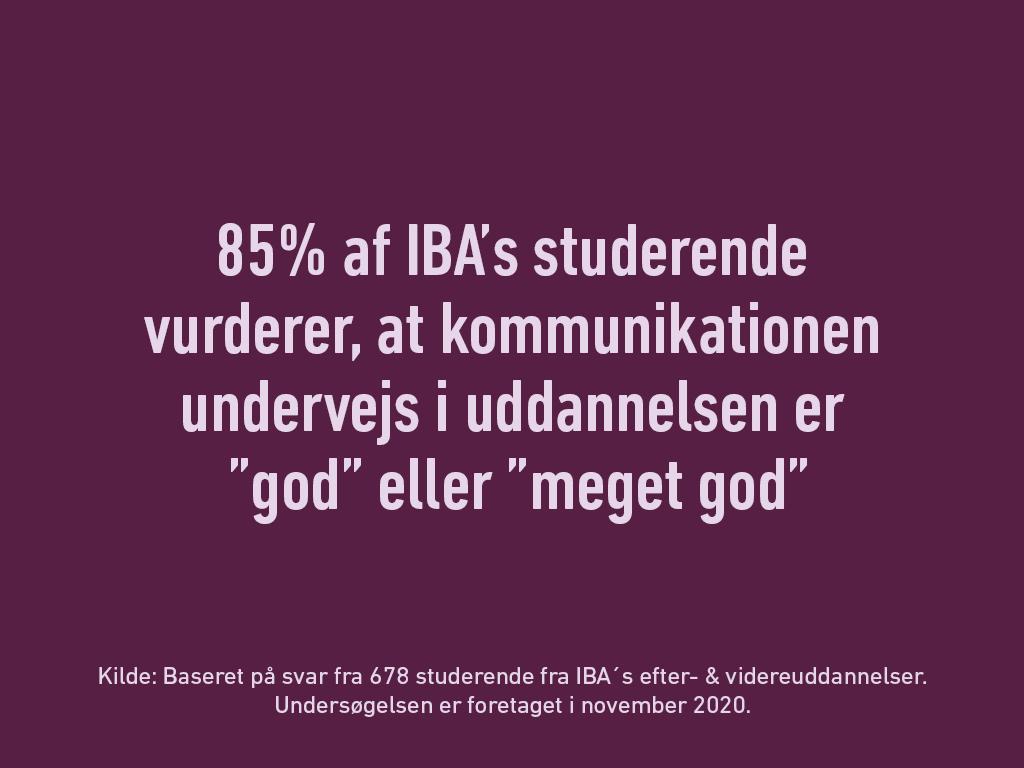 """Billede med teksten: 85% af IBA's studerende vurderer, at kommunikation undervejs i uddannelsen er """"god"""" eller """"meget god"""""""