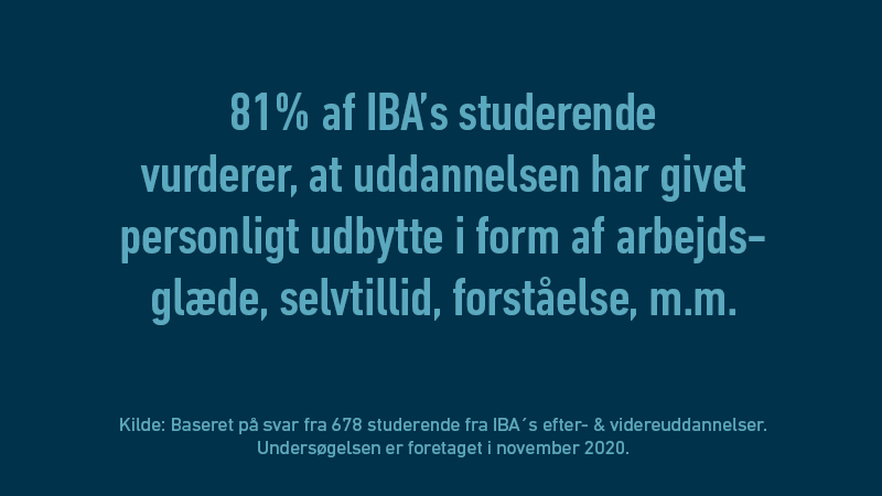 88% af IBA's studerende vurderer, at uddannelsen har givet personligt udbytte i form af arbejdsglæde, selvtillid, forståelse og meget mere.