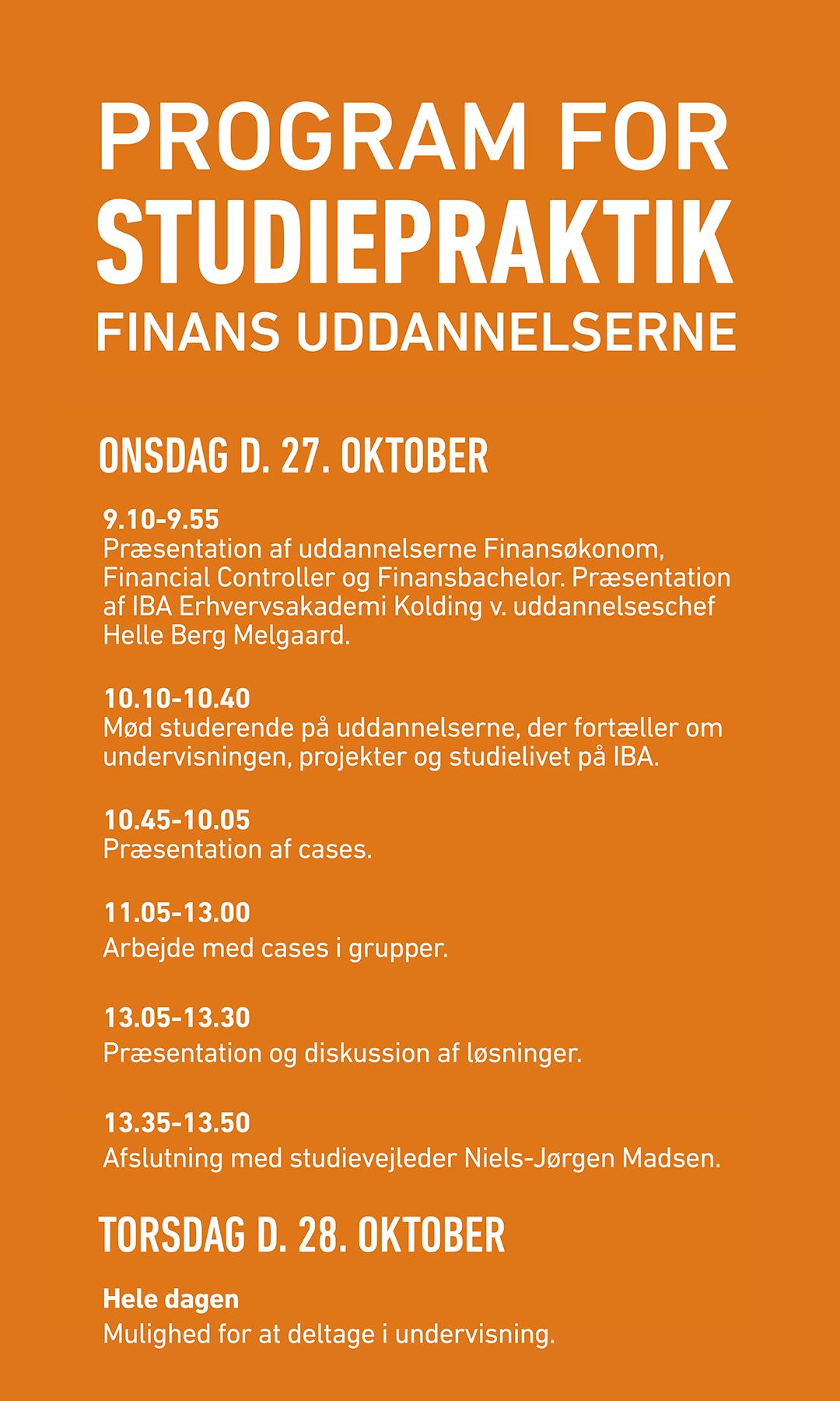 Program for studiepraktik for Finans uddannelserne.