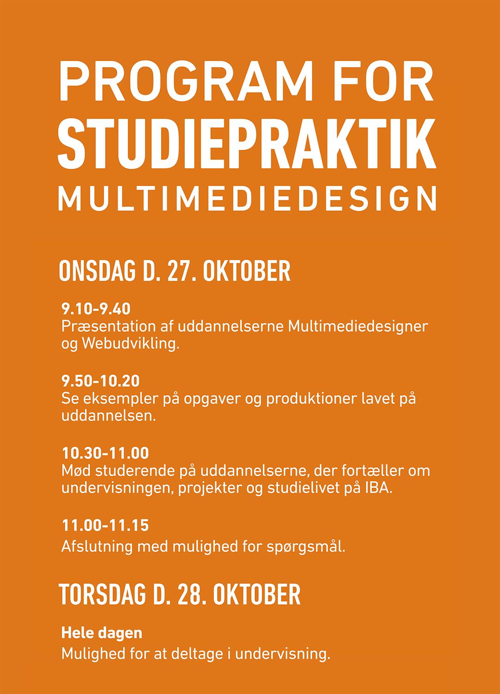 Program for studiepraktik for Multimediedesign.