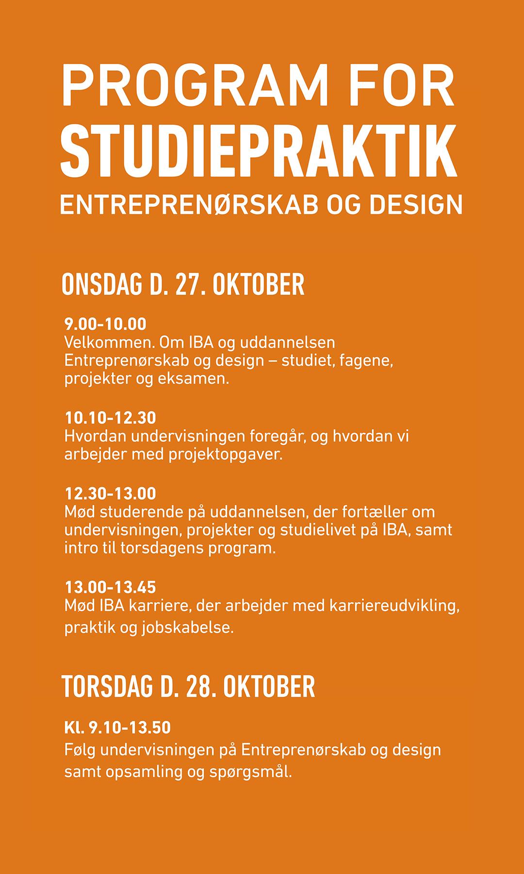 Program for Studiepraktik for Entreprenørskab og Design.