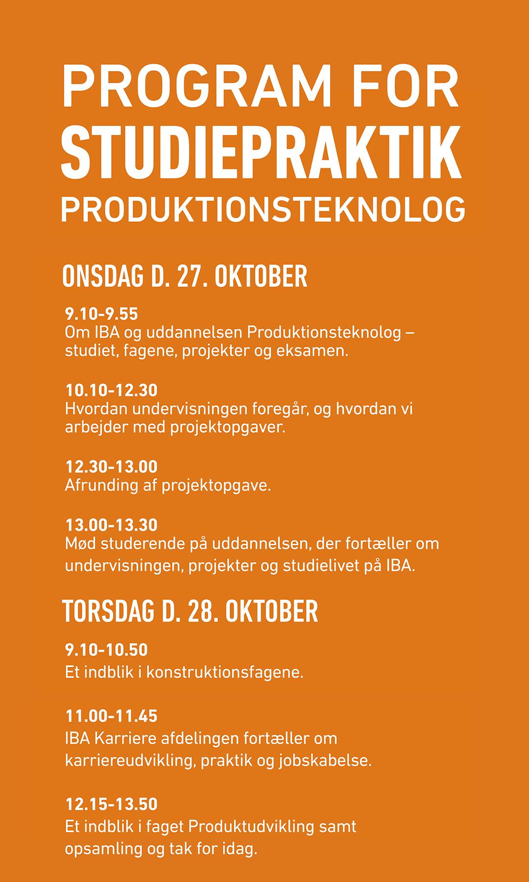 Program for studiepraktik for Produktionsteknolog.