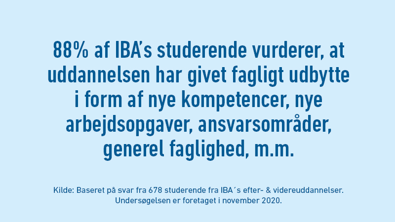 88% af IBA's studerende vurderer, at uddannelsen har givet fagligt udbytte i form af nye kompetencer, nye arbejdsopgaver, ansvarsområder, generel faglighed og meget mere.